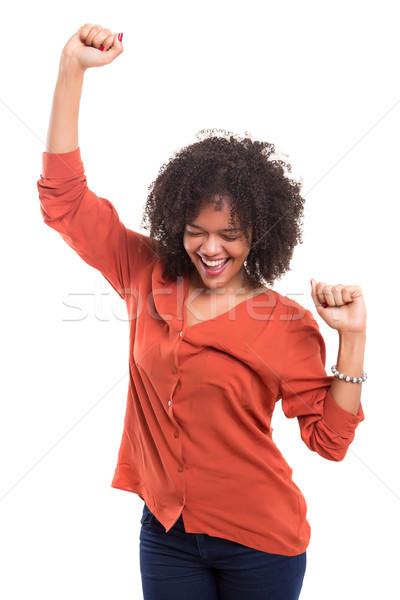 Gelukkig afrikaanse vrouw armen Stockfoto © hsfelix