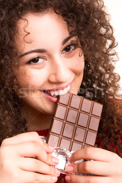 Chocolate hermosa comer mano Foto stock © hsfelix