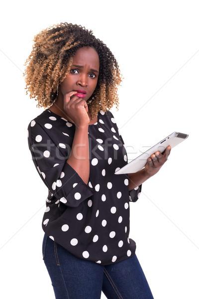 Oops werk app jonge afrikaanse vrouw Stockfoto © hsfelix