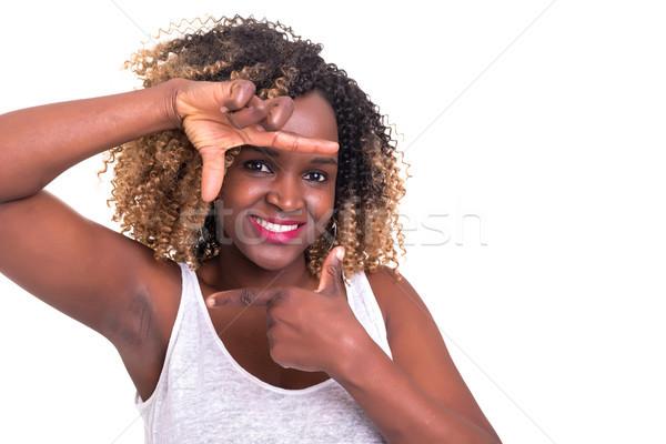 çerçeve bana genç kadın anahtar jest Stok fotoğraf © hsfelix