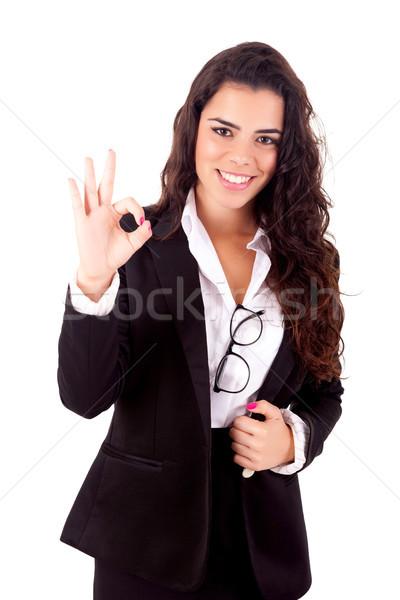 Mujer de negocios aislado blanco nina mano Foto stock © hsfelix