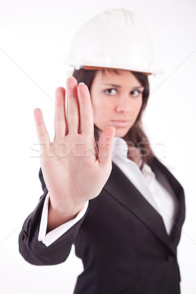 ビジネス女性 一時停止の標識 フォーカス 手 女性 ストックフォト © hsfelix