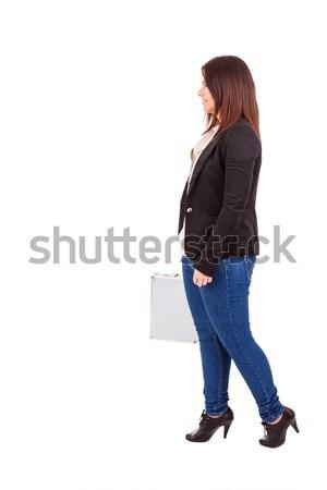 Zakenvrouw jonge koffer lopen Stockfoto © hsfelix