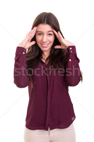しない 若い女性 強い 頭痛 孤立した ストックフォト © hsfelix