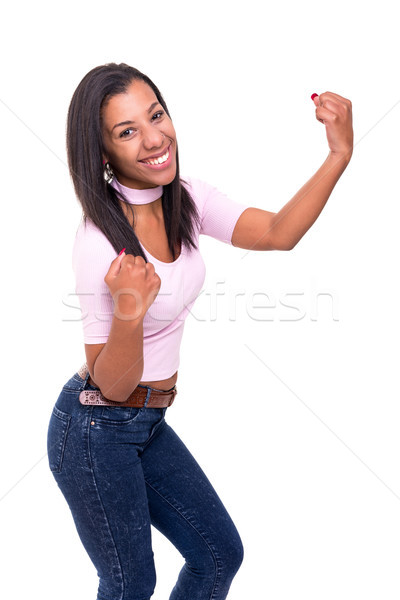 счастливым африканских женщину оружия Сток-фото © hsfelix