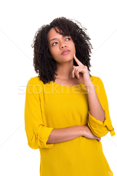 Engem gondolkodik stúdiófelvétel fiatal nő nagyszerű ötlet Stock fotó © hsfelix