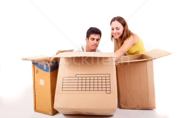 új ház fiatal pér mozog izolált fehér nő Stock fotó © hsfelix