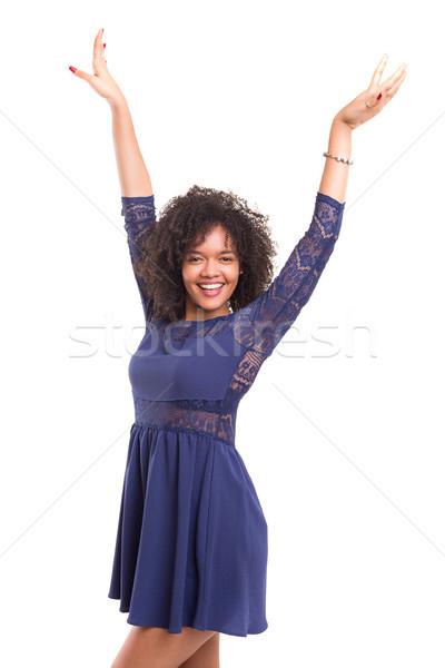 Feliz africano mulher brasão Foto stock © hsfelix