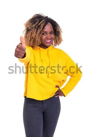 Wow sorpreso donna isolato bianco faccia Foto d'archivio © hsfelix