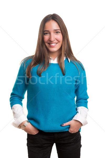 Fiatal nő gyönyörű fiatal lezser nő pózol Stock fotó © hsfelix