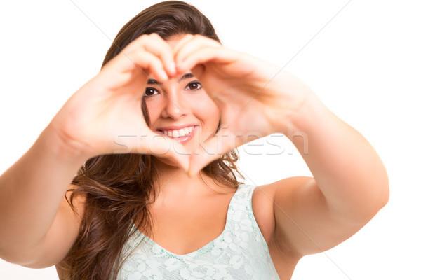 формы сердца красивая женщина рук изолированный белый Сток-фото © hsfelix