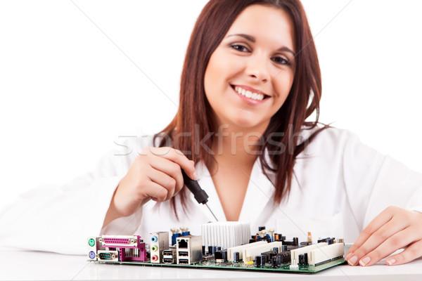 Komputera technik szczęśliwy udany młodych działalności Zdjęcia stock © hsfelix