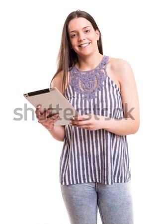 Aplicativo bom bela mulher relaxante negócio Foto stock © hsfelix