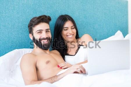çift yatak güzel genç tutkulu kadın Stok fotoğraf © hsfelix