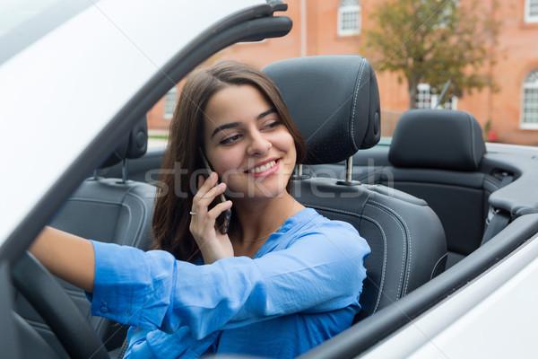 Donna d'affari telefono donna sorriso felice bellezza Foto d'archivio © hsfelix