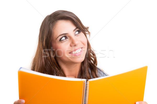 Feliz estudiante jóvenes posando blanco mujer Foto stock © hsfelix