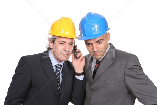 Stok fotoğraf: Iki · mühendisler · telefon · yalıtılmış · beyaz · adam