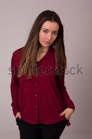 Stockfoto: Jonge · mooie · sexy · vrouw · poseren · studio · witte