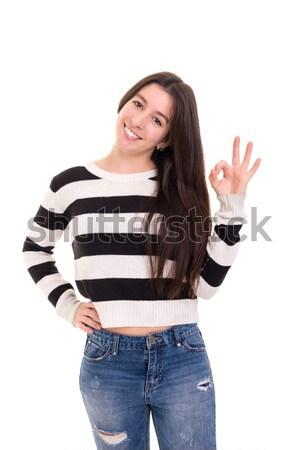 美しい 若い女性 孤立した 白 ストックフォト © hsfelix
