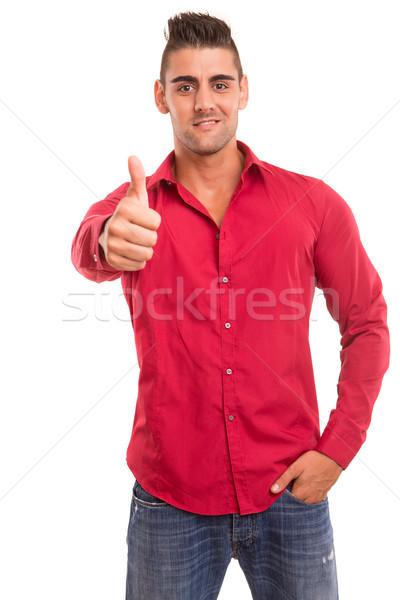 человека вызывать красивый молодым человеком изолированный белый Сток-фото © hsfelix