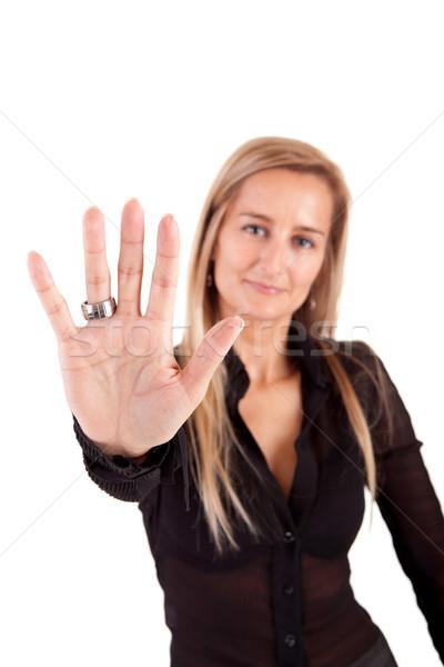 Mulher de negócios sinal de parada isolado branco negócio Foto stock © hsfelix