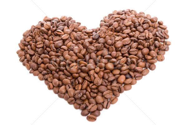 Cuore chicchi di caffè isolato bianco texture amore Foto d'archivio © hsfelix