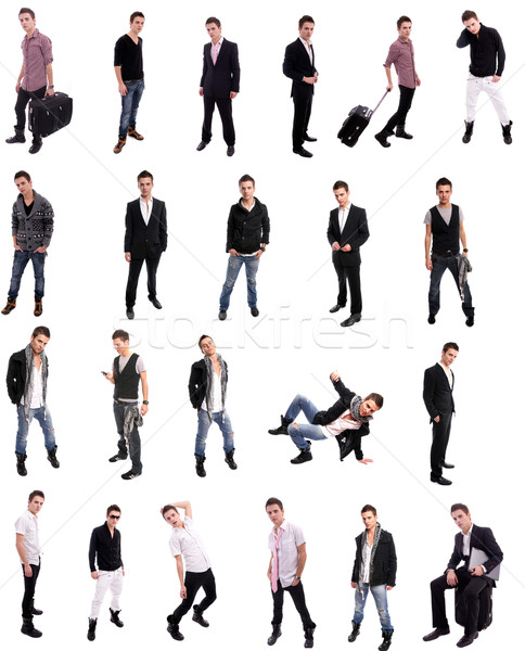 Stock photo: Young man posing in different positions