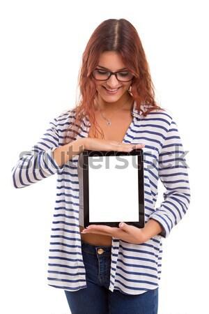 Wow wygląd szczęśliwy młoda kobieta produktu Zdjęcia stock © hsfelix