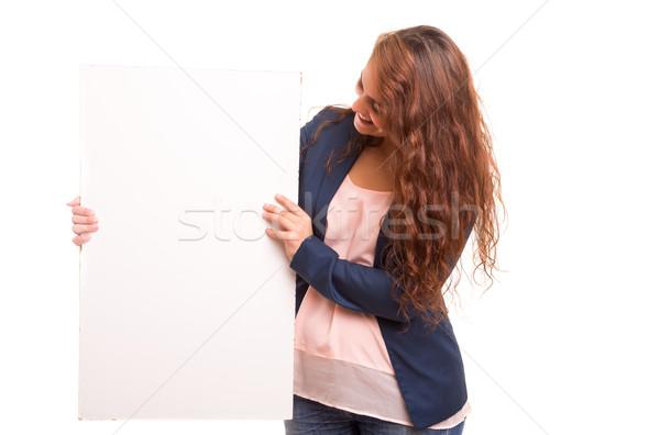 ürün tanıtım güzel genç iş kadını Stok fotoğraf © hsfelix