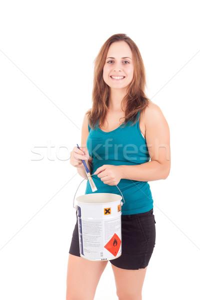 új ház fiatal nő mozog izolált fehér nő Stock fotó © hsfelix