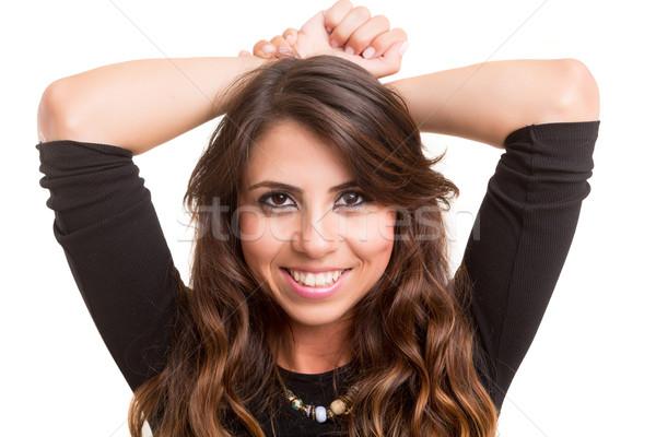 Nő stúdiófelvétel gyönyörű fiatal lezser lány Stock fotó © hsfelix