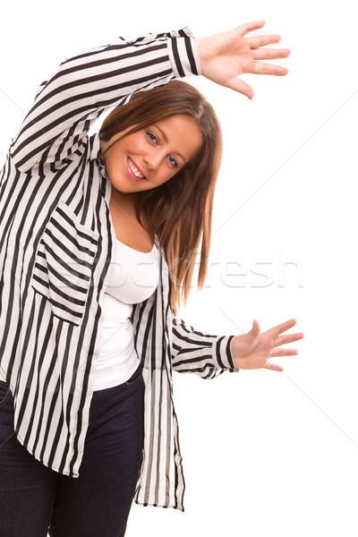 Femme heureux femme d'affaires isolé blanche Photo stock © hsfelix
