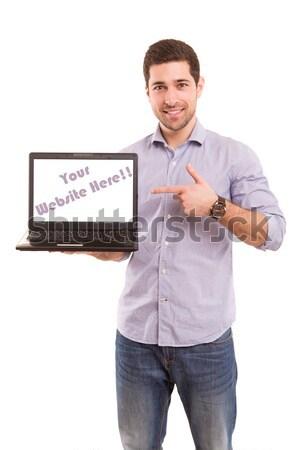 Fiatalember boldog bemutat termék táblagép üzlet Stock fotó © hsfelix