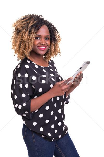 Uygulaması güzel genç Afrika kadın Stok fotoğraf © hsfelix