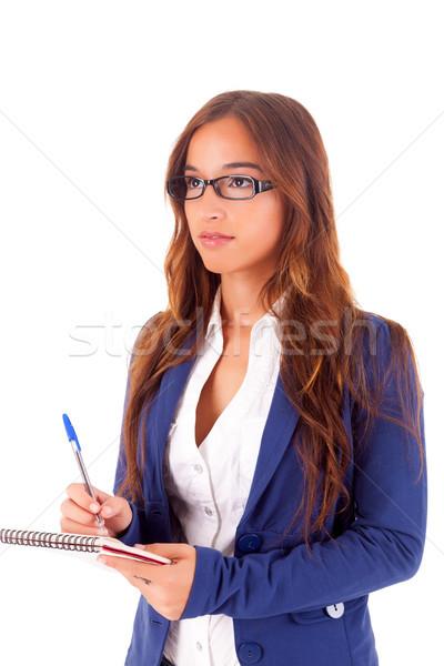 Empresária belo asiático mulher de negócios isolado branco Foto stock © hsfelix