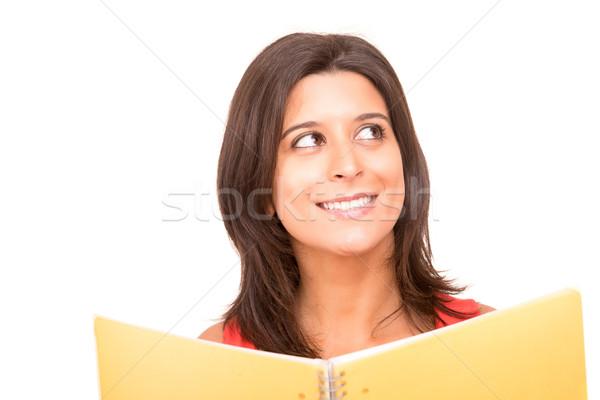 学生 小さな 女性 ポーズ 白 図書 ストックフォト © hsfelix