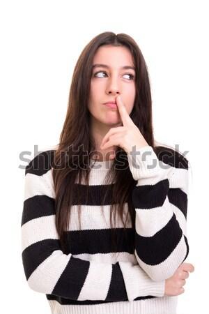 молчание красивой изолированный лице Сток-фото © hsfelix