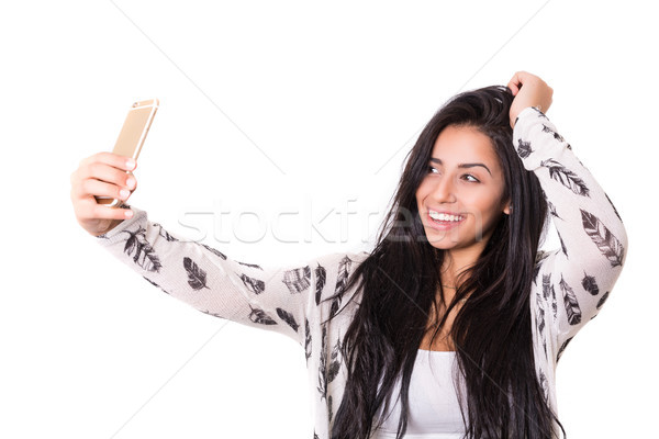 Mnie szczęśliwy młoda kobieta autoportret Zdjęcia stock © hsfelix