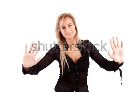 üzletasszony készít stoptábla izolált fehér nő Stock fotó © hsfelix