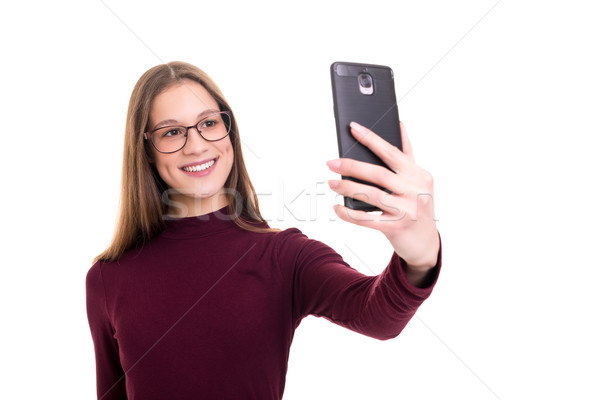 Me gelukkig jonge vrouw zelfportret Stockfoto © hsfelix