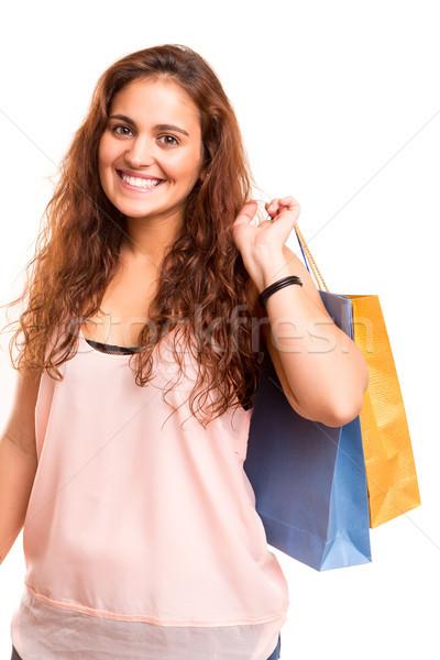 торговых счастливым красивая женщина женщину зима Сток-фото © hsfelix