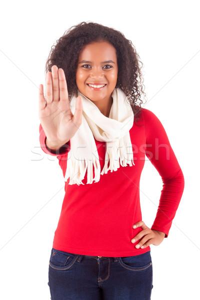 Dur işareti mutlu Afrika kadın yalıtılmış Stok fotoğraf © hsfelix
