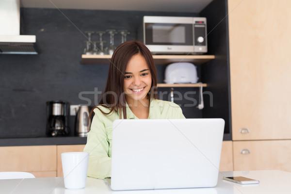 Stock fotó: Itt · fiatal · nő · dolgozik · otthon · reggel · ház