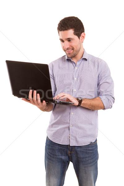 человека рабочих молодые красивый мужчина портативного компьютера бизнеса Сток-фото © hsfelix