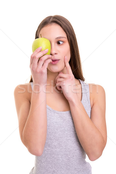 Manzana día hermosa mujer rubia frescos Foto stock © hsfelix