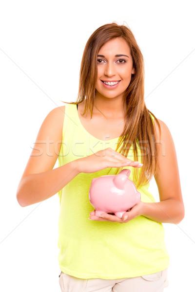 Сток-фото: подростку · Piggy · Bank · деньги · окна · женщину
