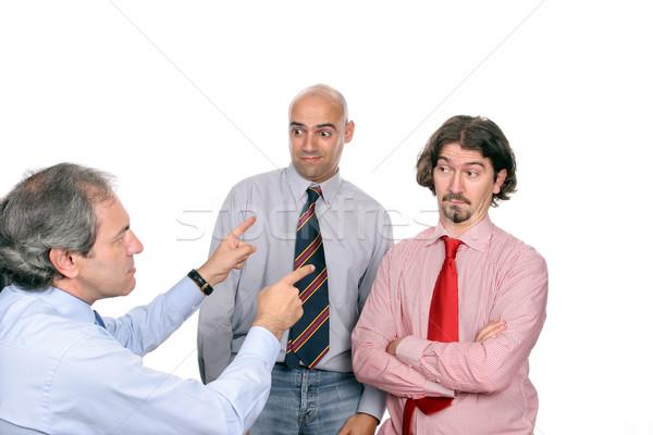Stok fotoğraf: Mutsuz · iş · ekibi · yalıtılmış · beyaz · iş · toplantı