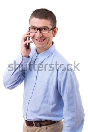 Om telefon tânăr izolat alb casă Imagine de stoc © hsfelix