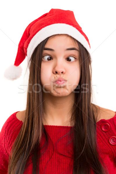 Dom vrouw mooie asian christmas hoed Stockfoto © hsfelix