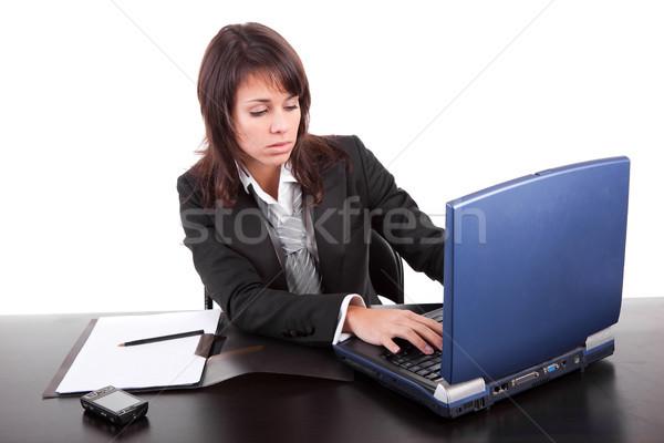 деловой женщины рабочих ноутбука изолированный белый женщину Сток-фото © hsfelix